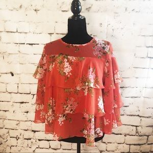 WHO WHAT WEAR Orange Tier layered Floral Blouse
